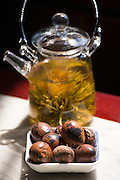 Flower infused tea and quails eggs in the Huxinting Teahouse, Yu Garden Bazaar Market, Shanghai, China