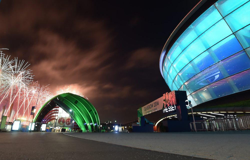 Fireworks along the River Clyde seen behind the Scottish Exhibition + Conference Centre Precinct and the SSE Hydro<br /> <br /> Photographer Chris Vaughan/CameraSport<br /> <br /> 20th Commonwealth Games - Day 1 - Wednesday 23rd July 2014 - Opening Ceremony - SECC Precinct - Glasgow - UK<br /> <br /> © CameraSport - 43 Linden Ave. Countesthorpe. Leicester. England. LE8 5PG - Tel: +44 (0) 116 277 4147 - admin@camerasport.com - www.camerasport.com