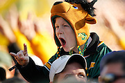 A North Dakota State Bison fan cheers during the award ceremony after the Bison beat Sam Houston State, 39-13, in the FCS title game at FC Dallas Stadium in Frisco, Texas, on January 5, 2013.  (Stan Olszewski/The Dallas Morning News)