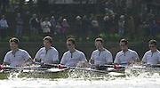Putney, London   <br /> 2002 Varsity Boat Race. <br /> Photo Peter Spurrier<br /> 2002 Boat Race<br /> 30/03/02<br /> Cambridge after passing through Barnes Bridge.[Mandatory Credit:Peter SPURRIER/Intersport Images]