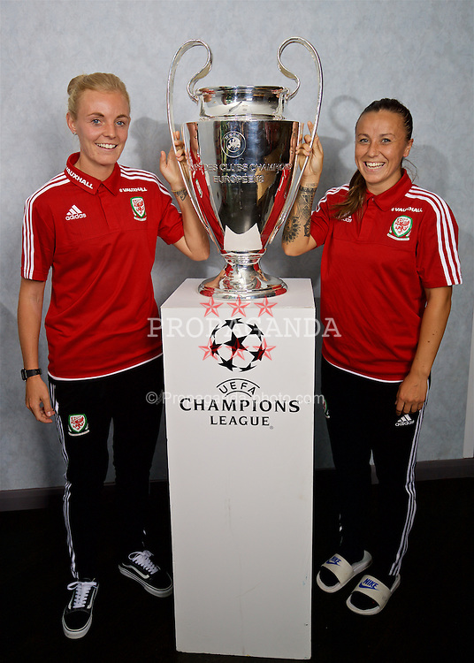 CARDIFF, WALES - Saturday, August 20, 2016: Wales Liverpool players captain Sophie Ingle and Natasha Harding with the UEFA Women's Champions League trophy at the Vale Resort. The UEFA Champions League finals take place in Cardiff in May 2017. (Pic by David Rawcliffe/Propaganda)