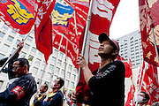 Marxist and union activist march in a demonstration at The National Worker`s Rally organised by Marxist groups and Doro Chiba labour union in Tokyo, Japan, Sunday, November 1st 2009