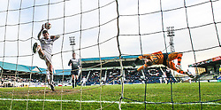 Raith Rovers Dougie Hill and keeper Lee Robinson can't stop Falkirk's Rory Loy's goal for Falkirk's third.<br /> Raith Rovers 2 v 4 Falkirk, Scottish Championship game today at Starks Park.<br /> © Michael Schofield.