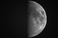 """First Quarter Moon from New Jersey. Image taken with a Nikon D3x and Questar 7"""" Telescope (ISO 100, ~1600 mm, f/16, 1/50 sec)"""