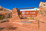 The entrance sign at Calf Creek Recreation Area, Grand Staircase-Escalante National Monument, Utah