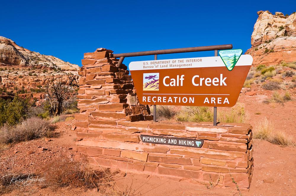 The entrance sign at Calf Creek Recreation Area, Grand Staircase-Escalante National Monument, Utah