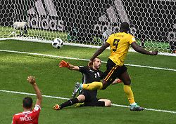 MOSCOW, June 23, 2018  Romelu Lukaku (R) of Belgium scores a goal during the 2018 FIFA World Cup Group G match between Belgium and Tunisia in Moscow, Russia, June 23, 2018. (Credit Image: © Wang Yuguo/Xinhua via ZUMA Wire)