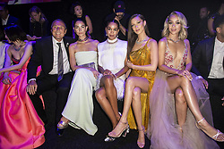 Shu Qi, Jean Christophe Babin, Lily Aldridge, Bella Hadid, Jasmine Sanders, Terrence J attend the fashion show during Bvgalri Gala Dinner held at the Stadio dei Marmi in Rome, Italy on June 28, 2018. Photo by Marco Piovanotto/ABACAPRESS.COM