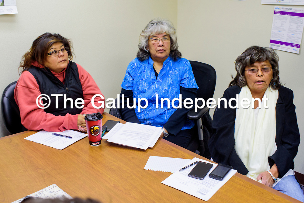Madeline Cadman, left, Francine Boyd and Janice Peterson sit together at the Department of Workforce Solutions Thursday in Gallup.