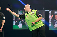 Michael van Gerwen throws during the PDC Premier League Darts Night 11 at Marshall Arena, Milton Keynes, United Kingdom on 6 May 2021.