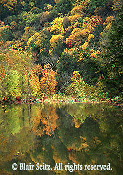 PA landscapes, Fall Foliage, Water Reflection, Forest and Lake, Little Buffalo State Park, South Central Pennsylvania