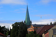 Csthedral church spire early summer morning Trondheim, Norway