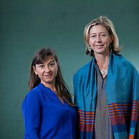Lynsey Addario (left) is an American photojournalist, with British journalist, Christina Lamb, at the Edinburgh International Book Festival 2015.<br /> Edinburgh. 31st August 2015<br /> <br /> Photograph by Gary Doak/Writer Pictures<br /> <br /> WORLD RIGHTS