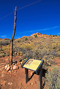 Telegraph pole and sign along the loop trail describing Arizona's first telegraph line, Pipe Spring National Monument, Arizona