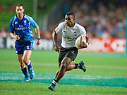 Fiji player Jerry Tuwai scores a try  during Fiji  v Japan match  in the Cathay Pacific/HSBC Hong Kong 7s at Hong Kong Stadium, Hong Kong, Hong Kong on 7 April 2017. Photo by Ian  Muir.*** during *** v *** in the Cathay Pacific/HSBC Hong Kong 7s at Hong Kong Stadium, Hong Kong, Hong Kong on 7 April 2017. Photo by Ian  Muir.