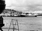 New IR£6 million supertrawler Atlantic Challenge, flagship of the Irish fishing fleet, lies moored at Killybegs. The trawler will fish for non-quota stocks, such as blue whiting and horse mackerel, to lessen dependence on mackerel as quotas are low for the Irish fleet.<br /> 17 May 1986