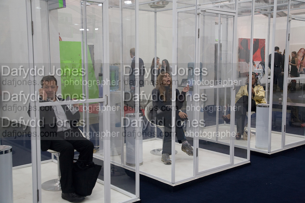 SMOKING ROOM; VICENTE TODOLI; RITA CALTAGIRONE, Frieze Art Fair 2008. Regent's Park. London. 15 October 2008 *** Local Caption *** -DO NOT ARCHIVE -Copyright Photograph by Dafydd Jones. 248 Clapham Rd. London SW9 0PZ. Tel 0207 820 0771. www.dafjones.com