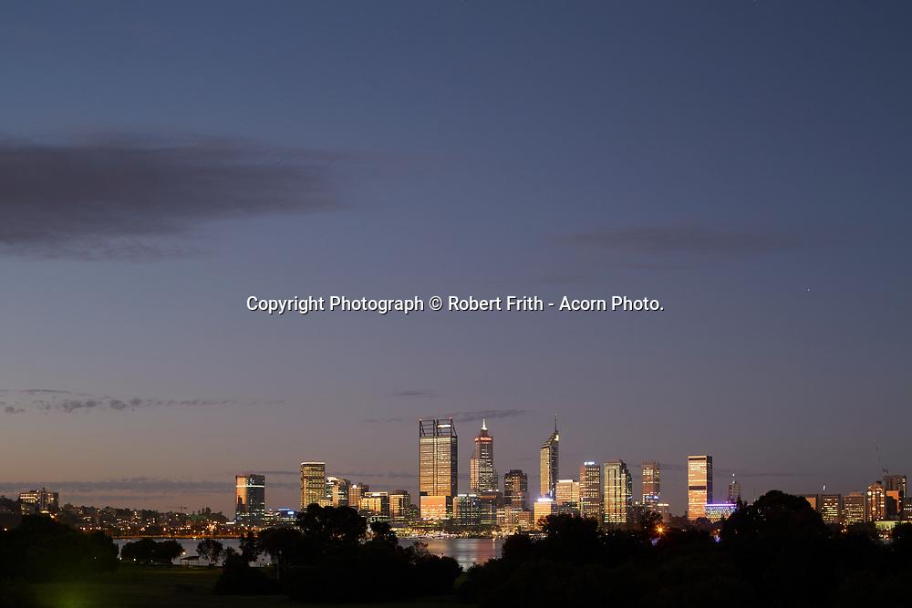 Perth city skyline at dusk