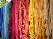 Naturally dyed woollen yarn hanging in the studio of master dyer Juana Gutierrez Contreras in the Zapotec village of Teotitlan del Valle, Oaxaca, Mexico on 1 December 2018. The natural dye materials are harvested in the Sierra Juarez mountains between October and November and other materials can be found in the courtyard gardens of Teotitlan. The plants are collected to make colourful dyes for blankets and other woven items