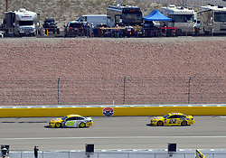 March 4, 2018 - Las Vegas, NV, U.S. - LAS VEGAS, NV - MARCH 04: Ryan Blaney (12) Team Penske Ford Fusion and Joey Logano (22) Team Penske Pennzoil Ford Fusion drive on the Nellis Straightaway during the Monster Energy NASCAR Cup Series Pennzoil 400 on March 04, 2018 at Las Vegas Motor Speedway in Las Vegas, NV. (Photo by Chris Williams/Icon Sportswire) (Credit Image: © Chris Williams/Icon SMI via ZUMA Press)