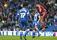 Middlesbrough FC defender Daniel Ayala heads clear during the Sky Bet Championship match between Brighton and Hove Albion and Middlesbrough at the American Express Community Stadium, Brighton and Hove, England on 19 December 2015.