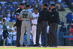 May 28, 2018 - Los Angeles, CA, U.S. - LOS ANGELES, CA - MAY 28: Philadelphia Phillies manager Gabe Kapler and Los Angeles Dodgers manager Dave Roberts meet the umpires before a MLB game between the Philadelphia Phillies and the Los Angeles Dodgers on Memorial Day, May 28, 2018 at Dodger Stadium in Los Angeles, CA. (Photo by Brian Rothmuller/Icon Sportswire) (Credit Image: © Brian Rothmuller/Icon SMI via ZUMA Press)