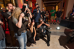 Photographers at the Indian new bike reveal party at the Hilton Hotel during Daytona Bike Week. Daytona Beach, FL, USA. Friday March 10, 2017. Photography ©2017 Michael Lichter.