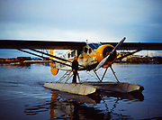 Rob Everts on float of his 1929 metalized Travelaire, Lake Hood, Anchorage, Alaska.