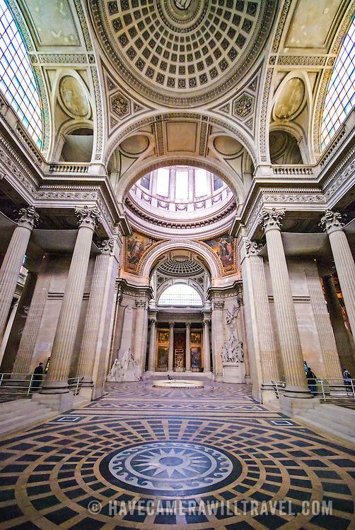 Interior shot of the Pantheon in the Latin Quarter in Paris. Originally built as a cathedral, it is now a mausoleum for French notables. With its distinctive domed roof on top of a hill, it's one of the major landmarks of Paris.