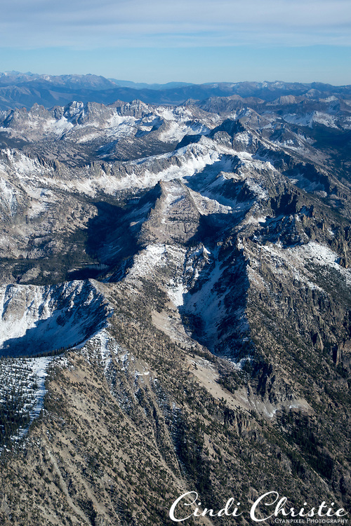 Jagged peaks of the Sawtooth range of the Rocky Mountains are seen from a Cessna 182 on Saturday, Oct. 8, 2016, near Stanley, Idaho.  (Cindi Christie/Cyanpixel)
