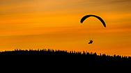 ÅRE, JÄMTLAND<br /> Skärmflygare på väg in för landning i Åre. <br /> Foto: Per Danielsson<br /> <br /> Jämtland, flygare, skärmflygare, skärm, landa, solnedgång, draklanda, årefjällen