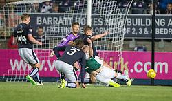Falkirk's Peter Grant tackles Hibernian's David Gray. Falkirk 0 v 1 Hibernian, Scottish Championship game played 20/10/2015 at The Falkirk Stadium.