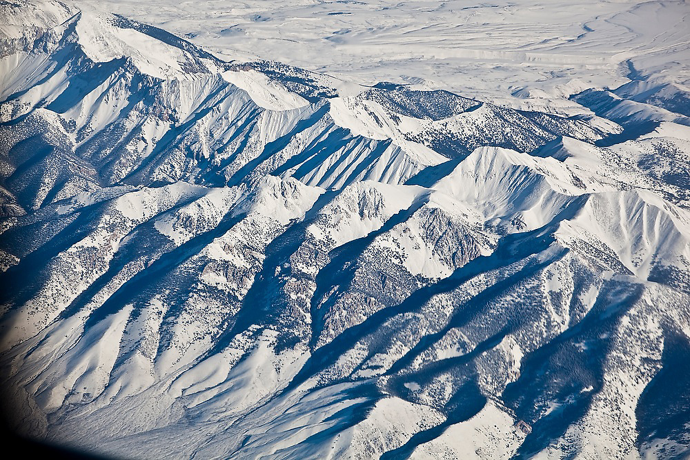 Aerial view of a mountain range in the Basin and Range Province in Nevada.