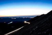 June 26-30 - Pikes Peak Colorado. Spectators, media and competitors climb the 12 mile road up Pikes Peak  before practice for the 91st running of the Pikes Peak Hill Climb.
