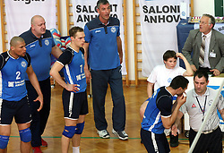 Players of Salonit Anhovo, coach Emanuele Fracascia and Alan Komel complaining to referee at 4th and final match of Slovenian Voleyball  Championship  between OK Salonit Anhovo (Kanal) and ACH Volley (from Bled), on April 23, 2008, in Kanal, Slovenia. The match was won by ACH Volley (3:1) and it became Slovenian Championship Winner. (Photo by Vid Ponikvar / Sportal Images)/ Sportida)