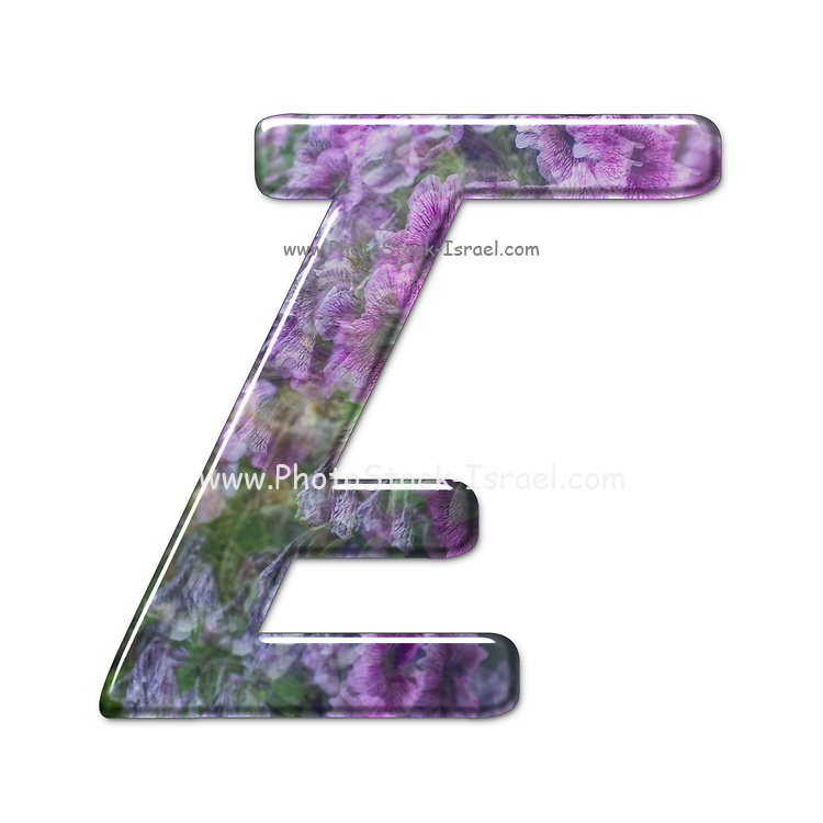 The Capitol Letter E Part of a set of letters, Numbers and symbols of 3D Alphabet made with a floral image on white background