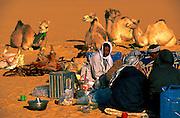 Egypt, 2000 - Desert camel trek, breakfast at camp.