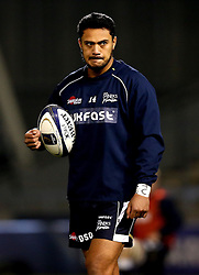 Denny Solomona of Sale Sharks prepares to make his debut after his controversial move and switching of codes from Castleford Tigers - Mandatory by-line: Robbie Stephenson/JMP - 18/12/2016 - RUGBY - AJ Bell Stadium - Sale, England - Sale Sharks v Saracens - European Champions Cup