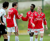 Fotball , 6. mars 2007 , La Manga , Bryne - Sogndal 2-1<br /> Mammoudo Diallo jubler etter scoring sammen med Brynes Tor-Mattis Kåven og Håvard Sakariassen