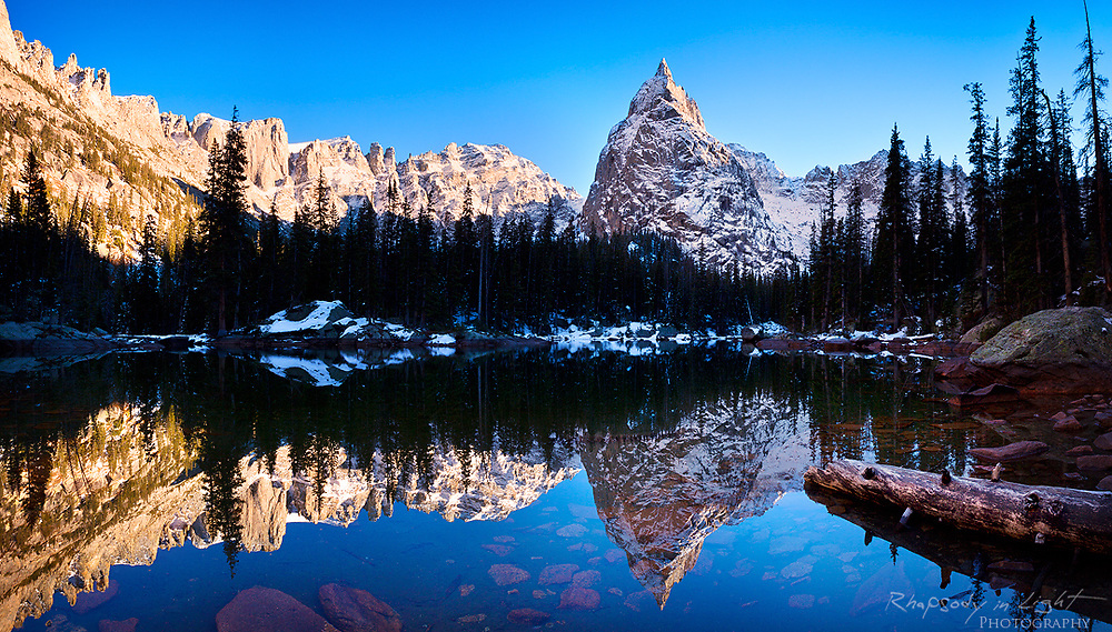 Stitched panorama of Lone Eagle Peak reflected in Mirror Lake - Indian Peaks Wilderness Area.