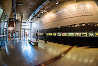 Display showing various people's family roots and history, Apartheid Museum, Johannesburg, South Africa.