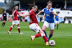 Carla Humphrey of Bristol City Women is marked - Mandatory by-line: Ryan Hiscott/JMP - 18/10/2020 - FOOTBALL - Twerton Park - Bath, England - Bristol City Women v Birmingham City Women - Barclays FA Women's Super League