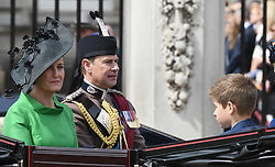 Sophie, Countess of Wessex, Prince Edward, Earl of Wessex  and their son James, Viscount Severn ride in an open carriage during Trooping the Colour in London