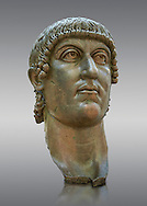 Roman gilded bronze head of Emperor Constantine dating from about 330-337 AD.. Inv 5.13, The Capitoline Museums, Rome..<br /> <br /> If you prefer to buy from our ALAMY STOCK LIBRARY page at https://www.alamy.com/portfolio/paul-williams-funkystock/greco-roman-sculptures.html . Type -    Capitoline    - into LOWER SEARCH WITHIN GALLERY box - Refine search by adding a subject, place, background colour, etc.<br /> <br /> Visit our ROMAN WORLD PHOTO COLLECTIONS for more photos to download or buy as wall art prints https://funkystock.photoshelter.com/gallery-collection/The-Romans-Art-Artefacts-Antiquities-Historic-Sites-Pictures-Images/C0000r2uLJJo9_s0
