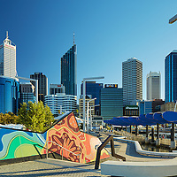 Artworks at Elizabeth Quay with the Perth city skyline in the background