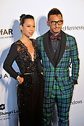HONG KONG - MARCH 14:  Footballer Hidetoshi Nakata (R) and a guest arrive on the red carpet during the 2015 amfAR Hong Kong gala at Shaw Studios on March 14, 2015 in Hong Kong. Photo : Lucas Schifres/Abaca  (Photo by Lucas Schifres/Lucas Schifres)