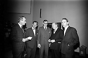 "25/03/1966<br /> 03/25/1966<br /> 25 March 1966<br /> Shock Symposium at UCD, Belfield, Dublin. The symposium on medical ""Shock"" sponsored by Pharmacia International was held at the Department of Science at U.C.D.. Over 250 attended the symposium that was presided over by Prof. P. FitzGearld M.D., M.Ch., M.Sc F.R.C.S.I.. Picture shows (l-r): Profeeor E. O'Malley, M.Ch., F.R.C.S.I.; Dr U.F. Gruber, M.D. (Switzerland); Dr H. Hint, M.D., (Sweden); Prof. P. FitzGerald and Mr P. Brady, M.Ch., F.R.C.S.I. who gave papers at the event.<br /> O'Malley: ""General Aspects of Shock""; <br /> Gruber: ""Volume Replacement in Shock"";<br /> Hint: ""The Relation Between Molecular Weight of Dextran and its Effects""; <br /> Brady: ""Renal Function in Shock""."
