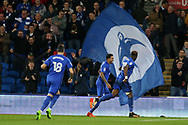Omar Bogle of Cardiff city ® celebrates with teammates after he scores his teams 2nd goal. EFL Skybet championship match, Cardiff city v Ipswich Town at the Cardiff city stadium in Cardiff, South Wales on Tuesday 31st October 2017.<br /> pic by Andrew Orchard, Andrew Orchard sports photography.