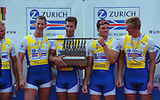Lucerne, SWITZERLAND, Men's Eights final.  2000 FISA World Cup, Rotsee Rowing Course, June 2000.  [Mandatory Credit, Peter Spurrier/Intersport-images]...GBR.M8+. right to left Simon DENNIS, James CRACKNELL, Luka GRUBOR, Kieran WEST, Fred SCARLETT, 2000 FISA World Cup, Lucerne, SWITZERLAND
