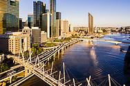 Aerial view of Kurilpa Bridge & Riverside Expressway, Brisbane city, Queensland, Australia